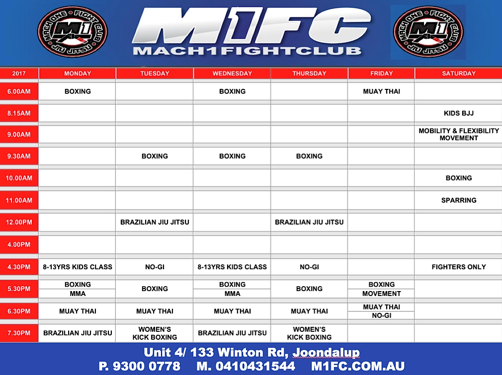 M1FC Joondalup Timetable