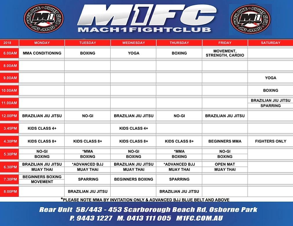 M1FC-Martial-Arts-Class Timetable-Osborne-Park