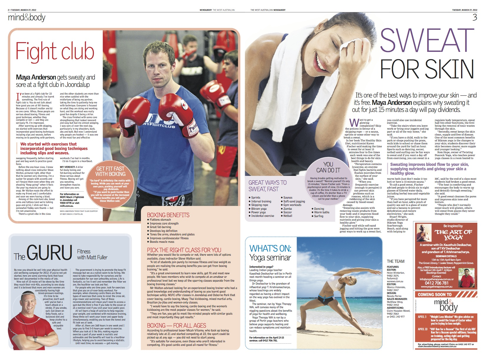 The West Australian Newspaper article on Tuesday 27th March 2012 with M1FC Coach Stephen Walton